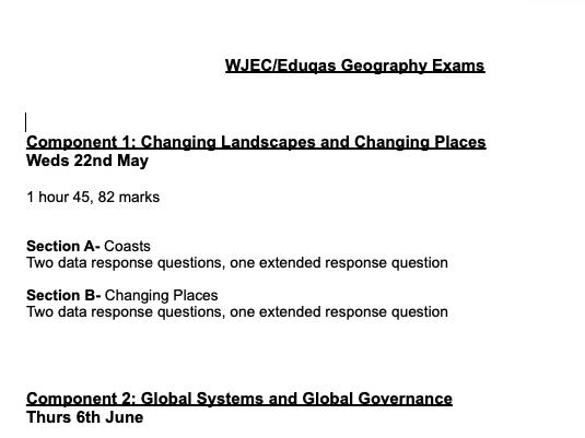 A Level Geography- WJEC/EDUQAS Exams