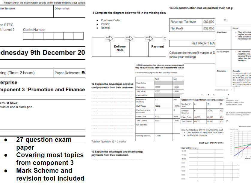 Component 3 Promotion and Finance Practice Exam and Mark Scheme