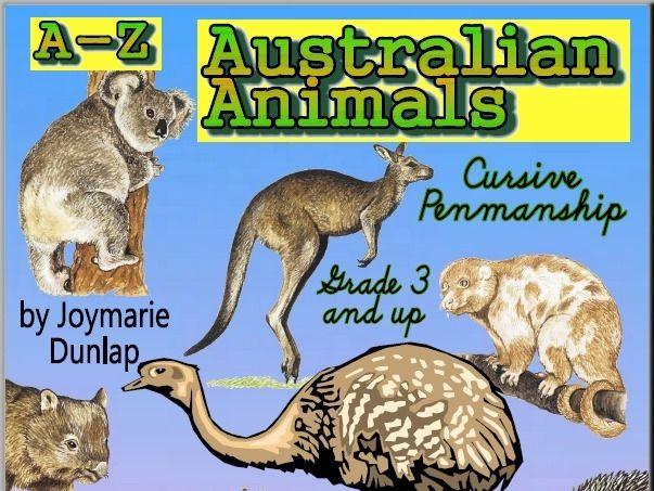 """Australian Animals"" A-Z Cursive Penmanship"