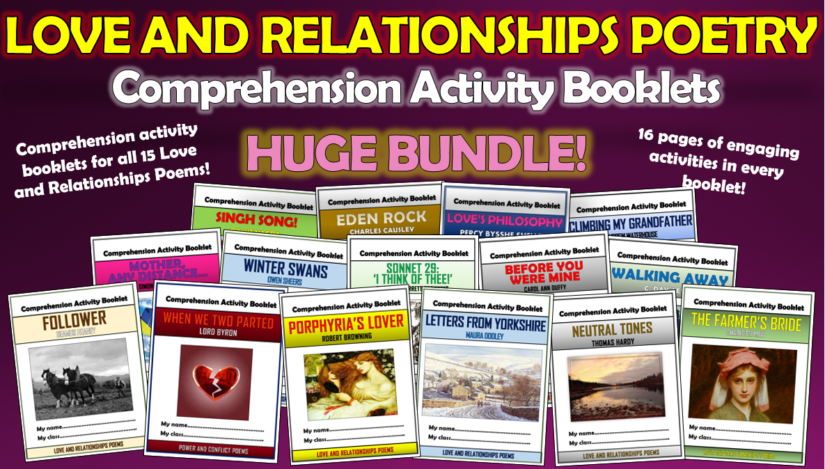 Love and Relationships Poetry Comprehension Activity Booklets Bundle!