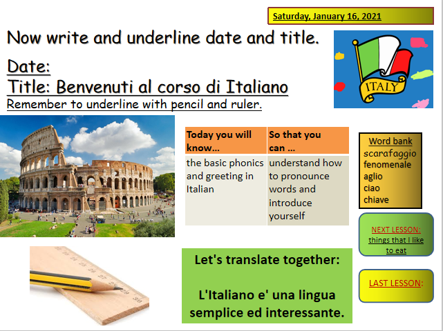 3 lessons set Italian pronunciation-verb to have-greetings-gender of names and more