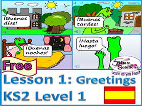Primary Spanish WHOLE FREE LESSON: Lección 1 Greetings & Saying your name (KS2 Level 1)