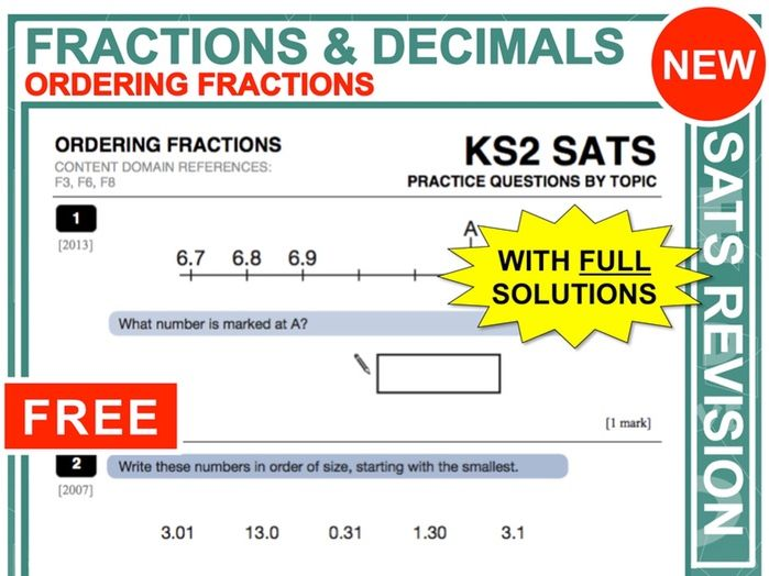 Y6 Maths SATs Revision (Ordering Fractions + Decimals)