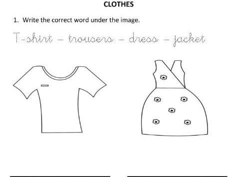 Writing Clothes Words for Reception and Year 1 Students
