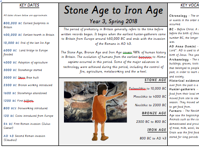Stone Age Iron Age Knowledge Organiser