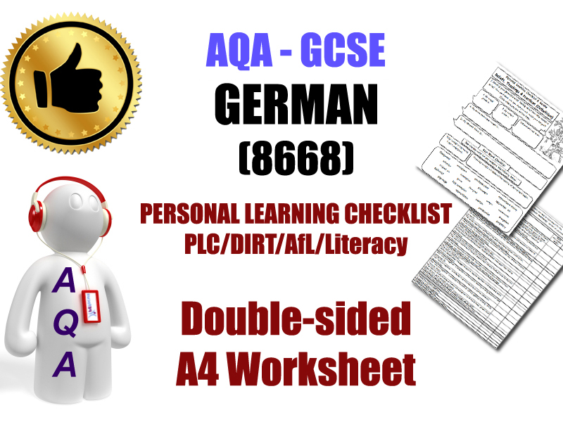 AQA-GCSE German Personal Learning Checklist (PLC) [Revision, DIRT, Exam Prep] Essential Download