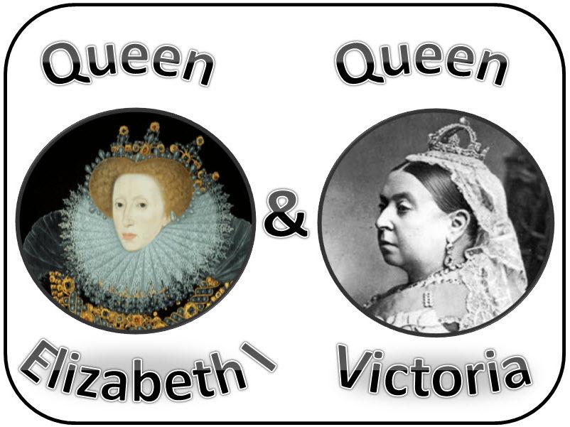 Queen Elizabeth I and Queen Victoria & Tudor and Victorian times diplay & activities
