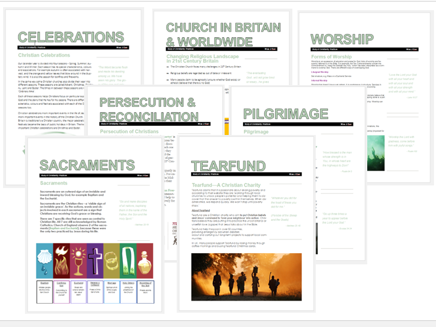WJEC Eduqas Christianity Practices Exam Booklet Bundle