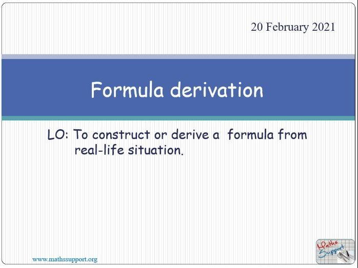 Derivation of formulae
