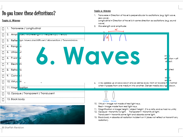 AQA GCSE 9-1 Physics: REVISE YOUR DEFINITIONS! Topic 6: Waves