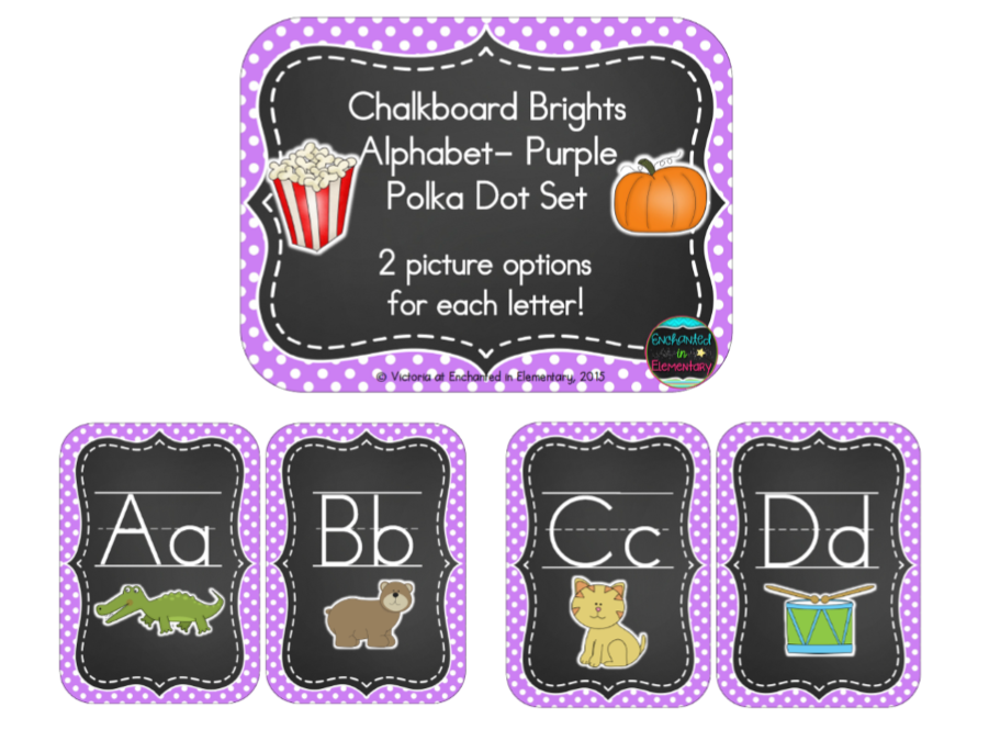 Chalkboard Brights Alphabet Cards: Purple Polka Dot Set