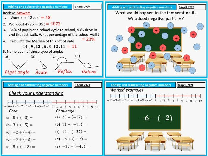 Negative numbers (adding and subtracting) complete lesson.