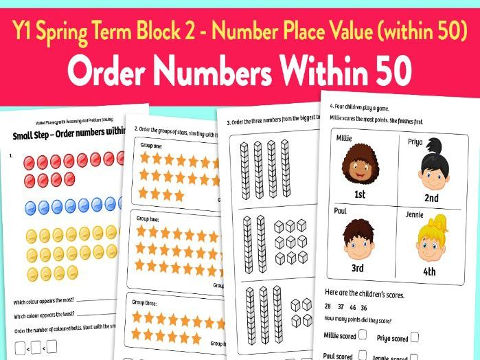 Order Numbers Within 50 activities: Y1 Spring Term, Block 2 – Number: Place Value (within 50)