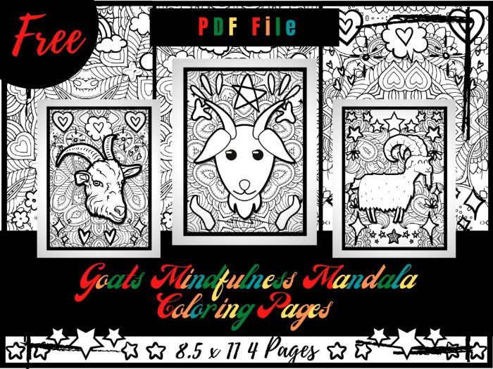 FREE Goats Mindfulness Mandala Coloring Pages, FREE Animals Coloring Printable Sheets PDF