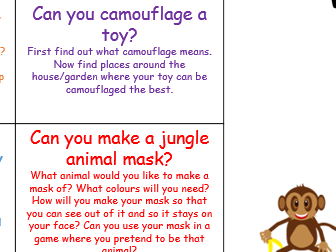 EYFS Jungle Topic home learning topic project school closure Early Years