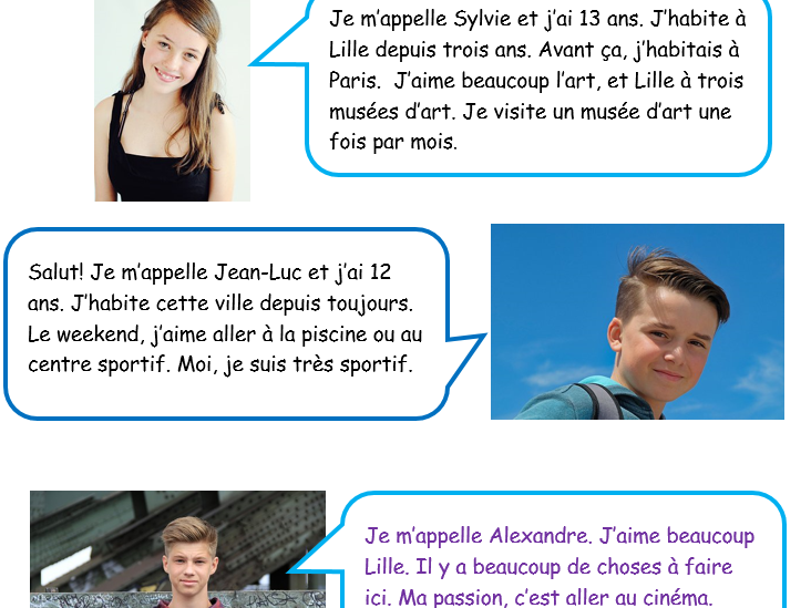 (Easy) Reading Comprehension French En Ville (J'aime)