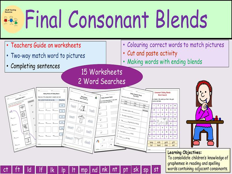 Phonics: Final/Endings Consonant Blends/Clusters, Worksheets, Cut ...