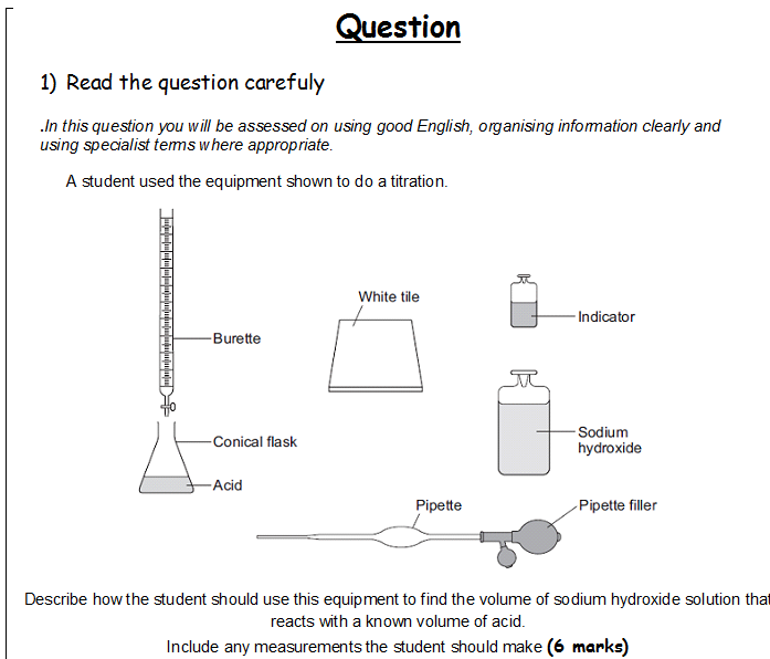 structured 6 mark question titration exam practice exam technique 6 mark help by j3ffica. Black Bedroom Furniture Sets. Home Design Ideas
