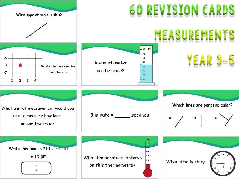 60 Measurement Revision Cards year 3, 4 and 5