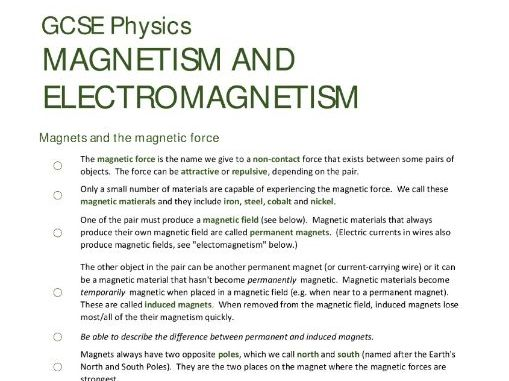 MAGNETISM & ELECTROMAGNETISM unit summary/checklist for AQA GCSE Physics