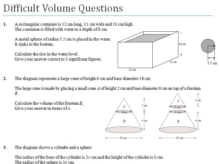 Difficult Volume GCSE Worksheet