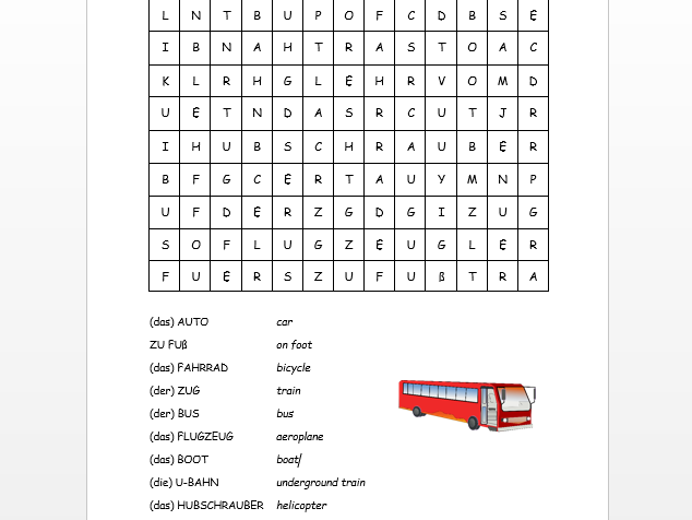 German transport wordsearch