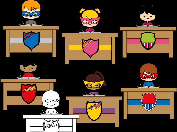Superhero Writing clipart - Multicultural students and school desks