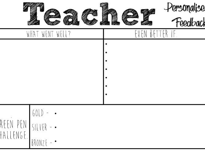 Personalised Marking Grid Template