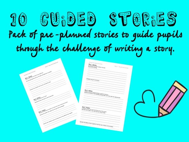 10 Guided Story Writing Worksheets to support primary age story writing.