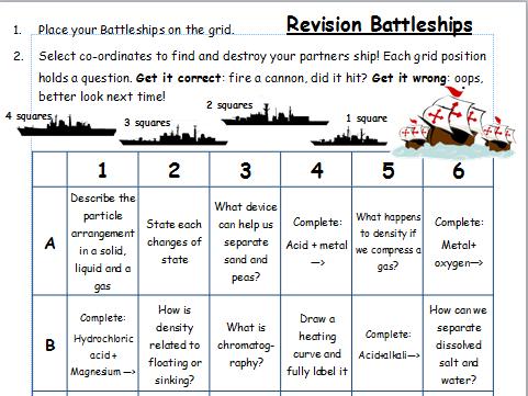 KS3 Chemistry Revision Battleships