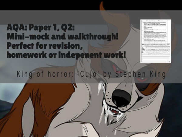 AQA: Paper 1, Q2: Mini-mock sheet & walkthrough: 2 (Perfect independent task, revision or homework!)