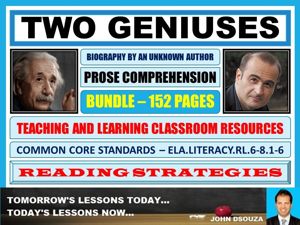 TWO GENIUSES - PROSE COMPREHENSION - CLASSROOM RESOURCES BUNDLE