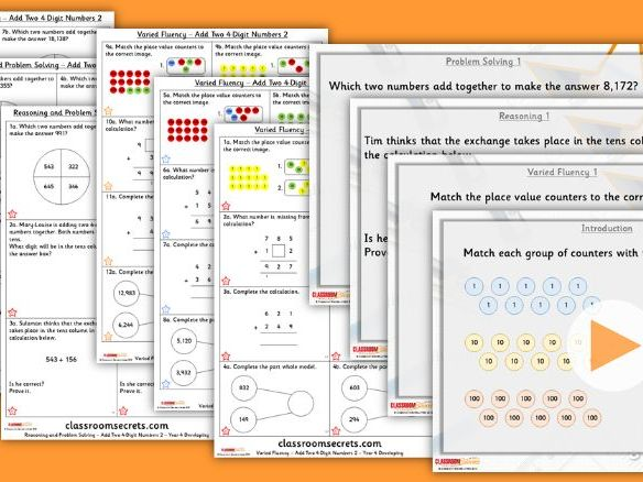 Year 4 Add two 4-digit Numbers 2 Autumn Block 2 Step 3 Lesson Pack