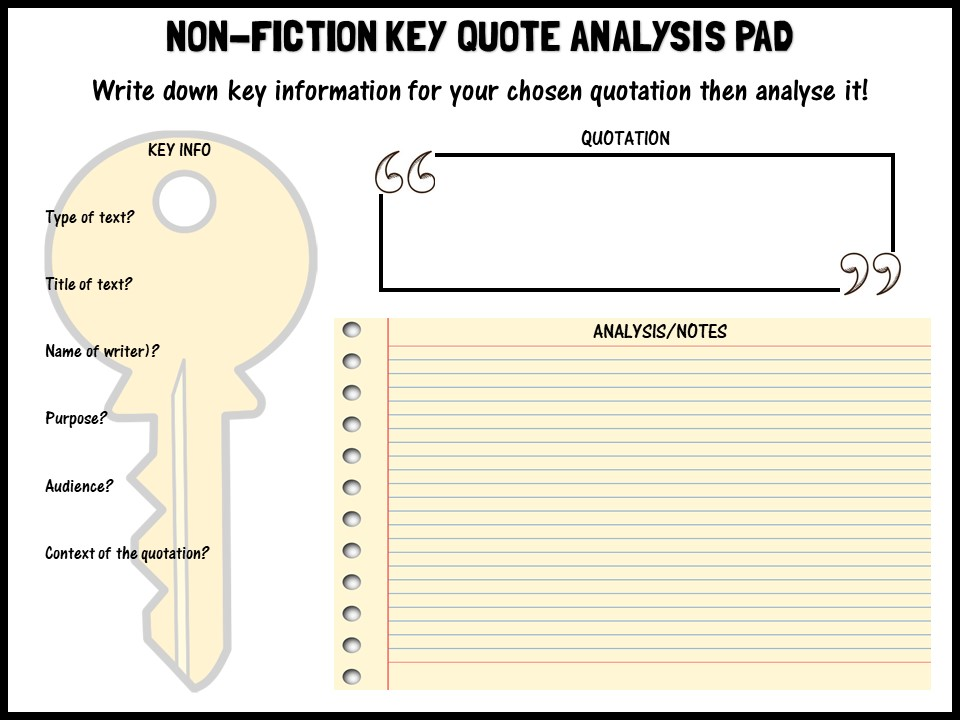 Non-fiction key quote analysis pad