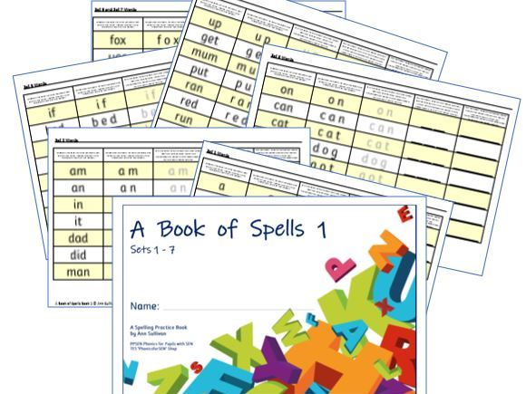 Book of Spells 1 - Spelling Practice Books - Sets 1-7 - One Set a Page