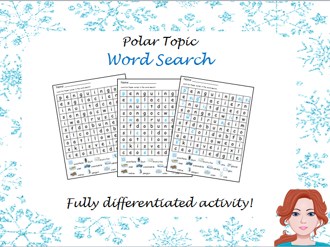 Polar Regions - wordsearch (differentiated)