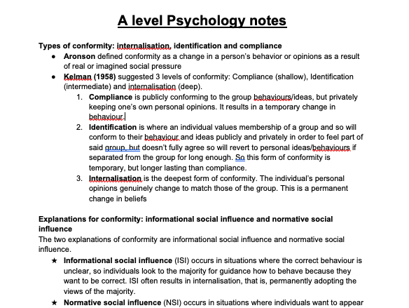 AQA A Level Psychology As notes