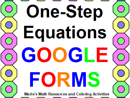 SOLVING ONE-STEP EQUATIONS: GOOGLE FORMS QUIZ DISTANCE LEARNING (20 PROBLEMS)
