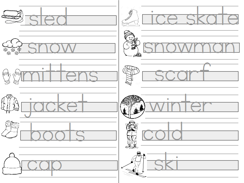 Guided Writing Practice - Winter Words - Print