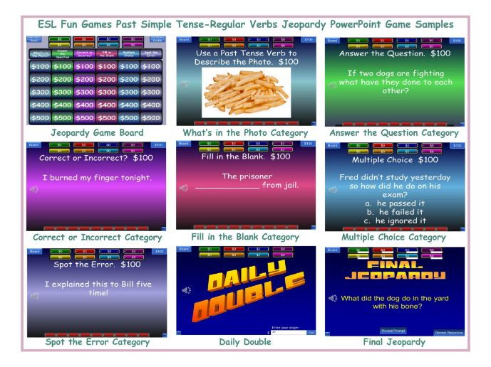 Past Simple Tense-Regular Verbs Jeopardy PowerPoint Game