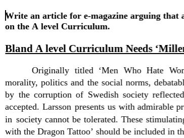 AQA Literature B NEA Example Journalistic Value Piece Band 5