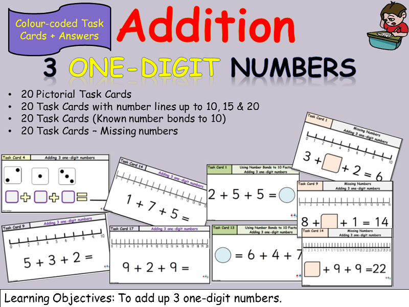 Addition: Task Cards - Adding 3 one-digit numbers - Equations, Number bond facts, Missing Numbers,