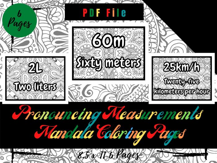 Pronouncing Measurements Mandala in The Background Coloring Pages For Kids, Sheets PDF