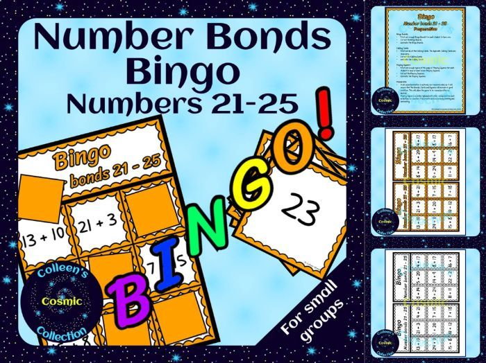 Number Bonds Bingo for numbers 21-25 for Small Groups