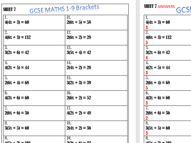 Brackets : solve an equation. Maths GCSE 2017 by tythy ...