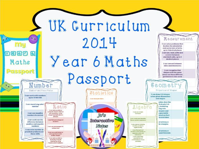 Year 6 National Curriculum Maths Passport