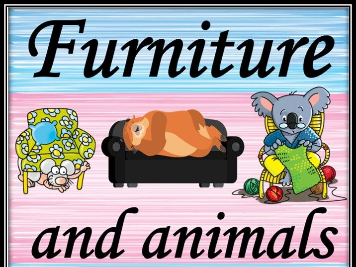 Furniture and animals. Guessing game.