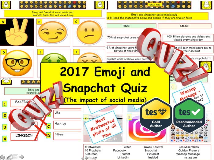2017 - Emoji and Snapchat social media Quiz (Fiction, Literacy) - 7 rounds and 40+Qs' .Autumn Quiz -