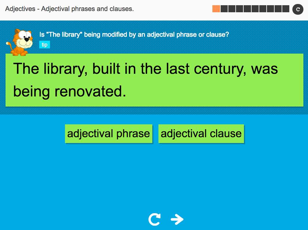 Adjectival phrases and clauses - Interactive Activity - KS3 Spag