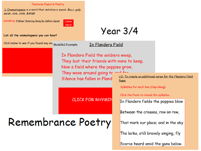 Remembrance Day In Flanders Field Poetry lesson Year 3/4
